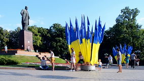 Taras Shevchenko monument during Independence Day in Kiev, Ukraine, stock video footage