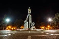 Taras Shevchenko monument in Shevchenko garden at night time. Kharkiv, Ukraine. Taras Shevchenko was ukrainian poet,writer,artist and thinker with his poetic stock image