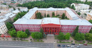 Taras Shevchenko University Red building cityscape sights in Kyiv of Ukraine. Architecture and historical buildings in the city center stock video footage