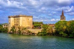 Tarascon castle on the Rhone river, France stock photos