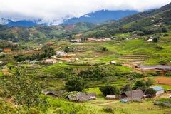 tarasowaci zieleni ryż pola w Ma Tra wiosce, Sa Pa, Wietnam Zdjęcia Stock