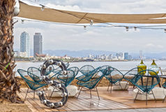Tarasowy bar, plażowy mrówka przód morski, Barceloneta plaża zdjęcie stock