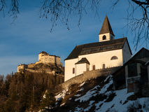 Tarasp castle and church Royalty Free Stock Images