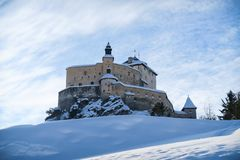 Tarasp Castle in front of blue sky stock images