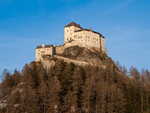 Tarasp castle in Swiss Alps Stock Photo