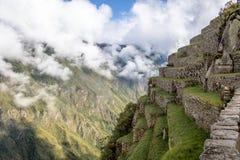 Tarasy przy Machu Picchu inka ruinami - Święta dolina, Peru Fotografia Stock