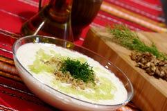 Tarator - potage froid bulgare traditionnel d'oseille photo stock