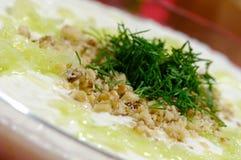 Tarator - traditional bulgarian cold sorrel soup Royalty Free Stock Image