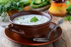Tarator - traditional bulgarian summer cold soup with cucumbers and yogurt Stock Images