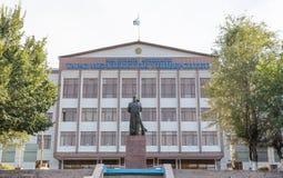 Taraz, Kazakhstan - August 14, 2016: Muhammad Haidar Dulati and. Taraz State University after M. Kh Dulati stock photos