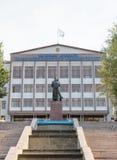Taraz, Kazakhstan - August 14, 2016: Muhammad Haidar Dulati and. Taraz State University after M. Kh Dulati royalty free stock photo