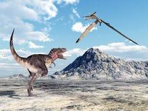 Tarbosaurus och Pteranodon Arkivfoto