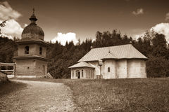 Tarcau Hermitage. The church and bell tower at the Tarcau hermitage in Romania Stock Photography