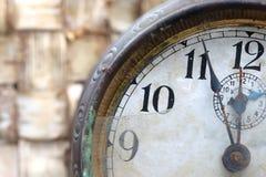 Tarcza stary zegaru zakończenie up Obraz Stock