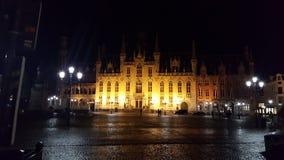 A tarda notte a Bruges Fotografie Stock Libere da Diritti