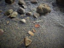 Tarde de la caída por el océano Foto de archivo libre de regalías