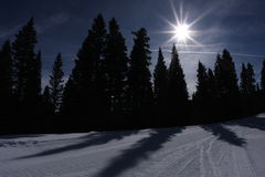 Tarde de la cuesta del esquí Fotografía de archivo