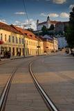 Tarde del castillo de Bratislava Imagen de archivo libre de regalías