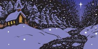 Tarde del invierno Nevado con la iglesia y la cala Imágenes de archivo libres de regalías