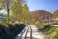 Tarde del otoño en las montañas fotos de archivo