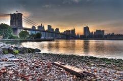 Tarde del puente de Brooklyn Imágenes de archivo libres de regalías