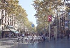Tarde del verano en el La Rambla, Barcelona Fotos de archivo