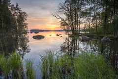 Tarde del verano por el lago Imágenes de archivo libres de regalías