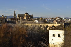Tarde desde el mirador de la Mezquita. Image made the evening before the sun poniera, in the foreground, the mill of San Antonio, in the background, the Mosque Stock Photos