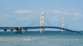 Tarde do close up da ponte de Mackinac Foto de Stock Royalty Free