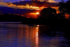 Tarde do sol dourado no ria do ³ de Porto a Dinamarca Glà fotografia de stock