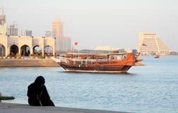Tarde em Doha Corniche imagem de stock royalty free