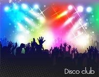 Tarde en club de noche gente contra la iluminación del color Fotografía de archivo