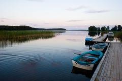 Tarde en el lago del bosque Fotos de archivo