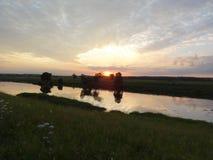 Tarde en inundación-tierras Fotos de archivo