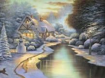 Tarde original de la Navidad de la pintura al óleo Fotografía de archivo