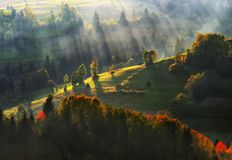 tarde Puesta del sol hermosa en las montañas cárpatas Fotografía de archivo