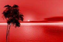 Tarde roja ilustración del vector