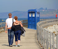Tardis arrives on kent pier Stock Photography