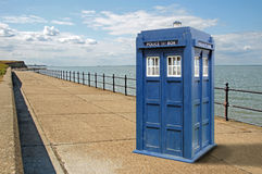 Tardis arrives at reculver in kent. Photo of dr who tardis time machine arriving at seafront at reculver in kent Royalty Free Stock Images