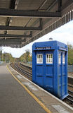 Tardis arrives at train station Stock Image