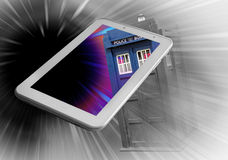 Tardis travels through tablet device. Conceptual photo of doctor who tardis travelling through deep space vortex with tablet scene in colour Royalty Free Stock Images