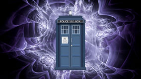 TARDIS. Vector of the TARDIS included with a fractal designed background Stock Photo