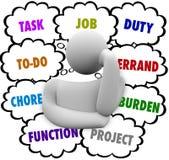 Tarea Job Chore To Do Stress Person Thinking Many Errands Fotografía de archivo