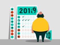 Tareas y plan para 2019 - 2020 Calendario de hábitos Carácter gordo divertido Feliz Año Nuevo Ilustración del vector stock de ilustración