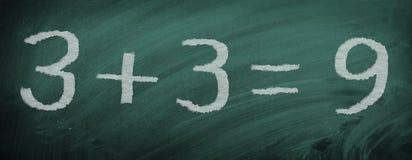 Tarefa da matemática - calculou errada - na ardósia fotos de stock royalty free