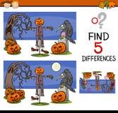 Tarefa das diferenças de Dia das Bruxas ilustração stock