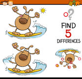 Tarefa de desenhos animados das diferenças ilustração do vetor
