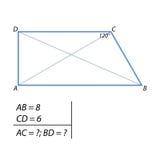 A tarefa de encontrar as diagonais do trapézio Imagem de Stock