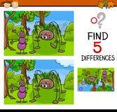 Tarefa do jardim de infância das diferenças ilustração do vetor