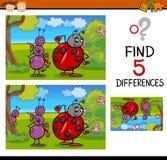 Tarefa pré-escolar das diferenças ilustração do vetor
